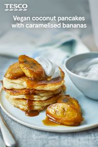 Enjoy a sweet start to the day with these easy vegan coconut pancakes. Made without dairy or eggs, this coconut milk batter creates fluffy, golden pancakes - perfect for stacking with caramelised bananas for an indulgent breakfast treat. | Tesco