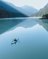Sunrise on Diablo Lake in the North Cascades.