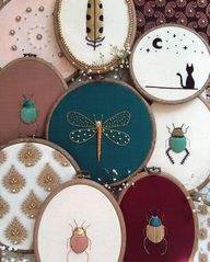 Assemblage (n.) a group of things gathered or collected. . . A collection of Goldwork beetles, a dragonfly, Goldwork feathers and embellished brocade fabrics now available on my etsy 🖤 #TheOldeSewingRoom
