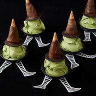 """Chocolate-Covered """"Witchs Hat"""" and Wicked Witch Sundae 
