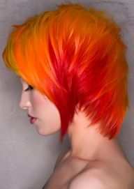 Neo Hair Design, all fire, no ice!...although,  a patch of bright pale blue would look cool www.korigami.vn