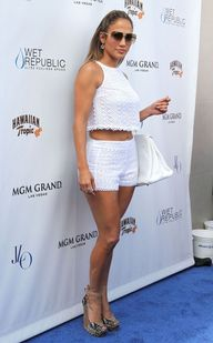 J Lo hits Wet Republic at the MGM Grand Las Vegas in Bec and Bridge crochet short set -- matchy-matchy!