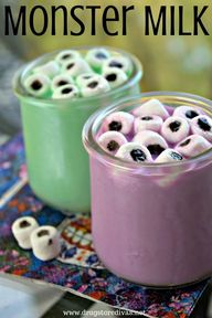 A little food coloring goes a long way to turn milk into Monster Milk for Halloween. Find out how at www.drugstoredivas.net.