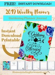 INSTANT DOWNLOAD, FREE 2019 Weekly Layout Printable Planner with Monthly Garden Tips, Beautiful Cover, Belongs to page, Months, 2 page weekly layout planner with Monthly Garden Tips to do with Goals Sheet for the month. Grab Yours Today!