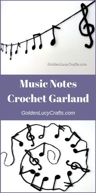 Music Notes crochet garland, crochet craft idea, crochet garland, crochet music notes