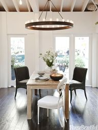 Light fixture above dining table