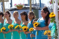 Bridesmaids in aqua