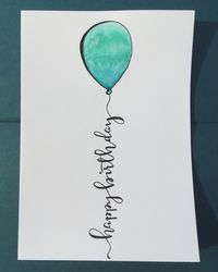 Happy birthday 5x7 calligraphy, hand lettering, metallic, watercolor card.
