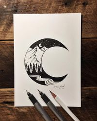 """Sam Larson on Instagram: """"Thanks for watching me draw and the questions. Let's do it again soon. Here's a photo of the finished piece.  #art #illustration #moon…"""""""