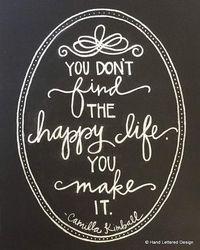The Happy Life- Motivational Print- Hand Lettering -Chalk Art Print -Chalkboard Art -Inspirational Quote