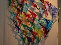 Michael Angelo Menconi Dichroic handblown art glass vase signed 15 tall signed