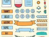 Planner, Adesivos, doodles / Planner, bullet journal, caderno, desenhos, e afim
