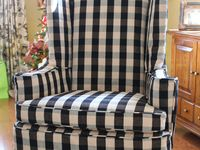Wing Chair Slipcover In Buffalo Check Slipcovers For Chairs Home Decor White Furniture Living Room
