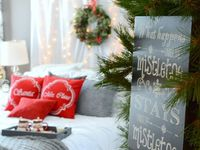 Christmas Bedroom Decor / Let Christmas into the bedroom with festive bedding and decorations - perhaps even a tree!