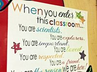 Decorations, inspiration, and arrangements in the classroom.
