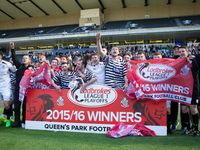 Clyde 14 May 16 / Pictures of the celebrations of winning promotion to the SPFL League One. Although Queen's Park lost 1-0 to Clyde they won 3-2 in aggregate. Match played at Hampden Park on Saturday 14th May 2016.