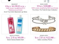 Steals and Deals / Every 2 weeks is a new Campaign. Every Campaign Avon Offers Steals & Deals on, Bath & Body, Makeup, Skin Care, Fashion, Fragrance, Fashion & Jewelery.