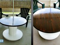 Tables & other items  made from old cable spools #cablespool #diytable #wirespools
