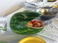 Friends obsessed with dinosaurs so for his the birthday his dad made made this beast watermelon.
