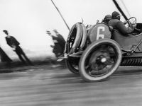 { The beginnings of Motor Racing, from the earliest contraptions to the high tech machines of the fifties. 1887 to 1959, four wheels, two wheels, four cylinders, V8 and steam powered. From twisting road courses through the countryside to board track ovals. }