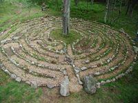 Labyrinth path to surround apple tree