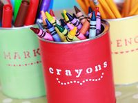 Creative ways to organize art supplies. Inspiring art room set ups for the kids.