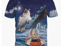 Funny Titanic Cat Kitten 3d Print T Shirt Top Character Tee O Neck Short Shirts 猫 かわいい Tシャツ