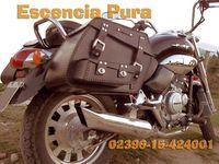 Alforjas Motos / Escencia Pura viste tu moto de cuero. Para ello, te ofrecemos una amplia gama de productos para que elijas. Trabajamos por pedido y a medida. Si se te ocurre algo más, avisamos. Estamos para eso.