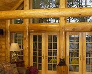 up north in a log mansion on a lake