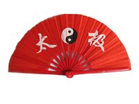 """14.75/"""" OVERALL RED DRAGON /& TAICHI KUNG FU FAN METAL FRAME MARTIAL ARTS WEAPON"""
