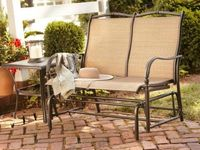 150 Threshold Harper Metal Patio Garden Bench Navy Metal Patio Furniture Patio Furniture Sets Patio Bench