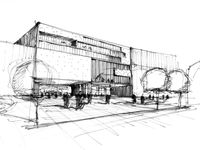 A collection of architectural sketches and drawings