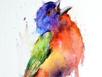 Art watercolor birds