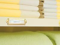 Neat. Bright. Organized. Closets, linen storage.