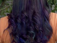 Brown hair with blue and purple streaks