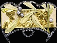 The Art Nouveau period (1890 - 1910) produced some of the most evocative pieces in the history of jewelry design. Central to the movement was an embrace of romanticism, naturalism and femininity. The use of flowing, curvilinear lines with attention to balance and symmetry is of paramount importance within Art Nouveau pieces – both in jewelry and other forms of art.
