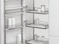 Perfect Pull Out Pantries from Vauth-Sagel / Optimal storage, quality German design and simple installation make these pull out pantry units the perfect partner for new kitchens and kitchen renovations alike! Vauth-Sagel HSA, VSA and DUSA pull out pantry and pull out larder units are available in a range of heights and cabinet widths to suit any kitchen and pantry cabinet. Select Saphir chromed wire baskets, Premea solid base baskets or Premea solid base with Artline glass panels.