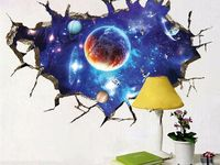 3d Vivid Hammer Thor Broken Wall Stickers For Baby Room Window Toilet Home Decor