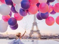 Download Wallpapers Bunch Of Balloons Multicolored Inflatable Balls Sky Clouds Colored Balloons Besthqwallpapers Com Balloons Colourful Balloons Birthday Illustration