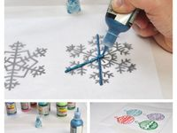 Trace design onto wax paper with puffy paint.