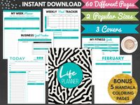 Life Planner Printable Goal Planner 2020 2021 Weekly Planner Organizer Productivity Instant Download Daily Planner Monthly Planner Life Planner Goal Planner Printable Weekly Planner Organizer