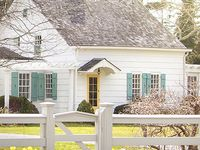 Turquoisepaint info exterior doors benjamin moore wythe blue hc 143 - White Exterior Houses On Pinterest Brown Roof Houses