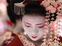 Geisha hair and makeup ideas.