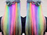 Colourful hair, Cabello de colores and Hair dos