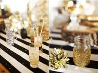 gold black white party