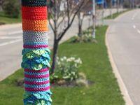 Yarn bombing or yarn storming