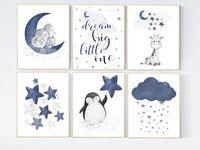 Hellblau Teppich mit Weißen Mond We Love You To The Moon and Back Kinderteppich