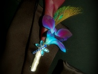 A collection of unusual or interesting corsages and boutionneers for weddings