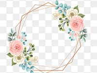 Geometric Frame With Pastel Flower Wedding Wedding Invitation Gold Png Transparent Clipart Image And Psd File For Free Download Pink Watercolor Flower Embroidery Flowers Pattern Flower Drawing