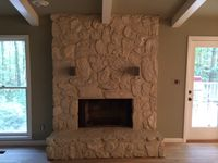 Painted rock fireplace